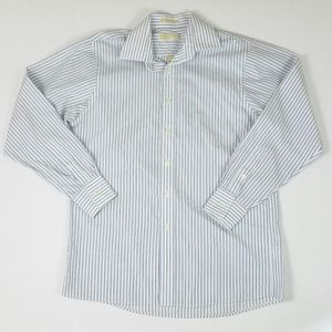 Michael Kors Button Down White Blue Striped Shirt